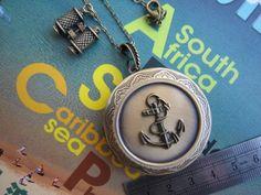 Round Bronze Locket Necklace Anchor Locket Necklace by PrettyDIY, $16.00