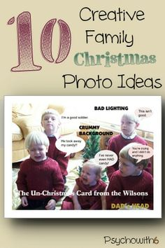10 Family Christmas Photo Ideas - Wish I could have read this article years ago! Great ideas for family photos. Funny Family Christmas Photos, Family Christmas Cards, Funny Christmas Cards, Christmas Crafts For Kids, Christmas Activities, Christmas Humor, Christmas Fun, Holiday Fun, Family Photos