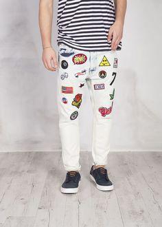 jeans baggy con patches lavaggio chiaro