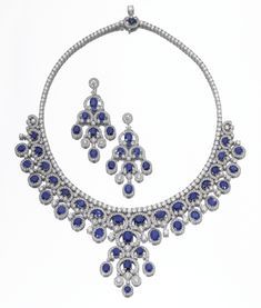 Minimalist Boho Jewelry Sapphire and diamond demi parure. Comprising: a necklace and a pair of pendent earrings, set with oval and circular-cut sapphires and brilliant-cut diamonds, mounted in white gold, necklace length approximately Boho Jewelry, Vintage Jewelry, Fine Jewelry, Jewellery, Jewelry Bracelets, Jewelry Making, Sapphire Jewelry, Diamond Jewelry, Selling Jewelry