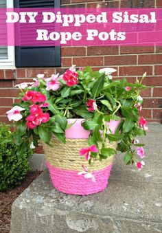 diy flower pots | DIY Dipped Sisal Rope Flower Pots | Projects