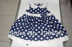 2014 new cotton baby girl dress White dot  female child summer clothes sleeves Rose accessory $16.16