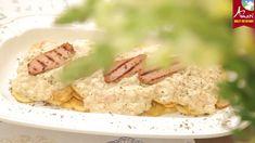 Τηγανητές πατάτες με σάλτσα λευκού τυριού και απάκι Krispie Treats, Rice Krispies, Desserts, Food, Deserts, Dessert, Meals, Rice Krispie Treats, Yemek