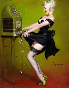 GIL ELVGREN (American, Jackpot, 1961 Oil on canvas 29 x in. Signed lower right A printed example of this painting was reproduced as figure 497 in Gil Elvgren All His Glamorous American Pin-Ups by Charles G. Pin Up Vintage, Retro Pin Up, Vintage Graphic, Vintage Girls, Retro Vintage, Pinup Art, Gil Elvgren, Pin Up Illustration, Illustrations