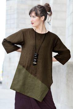Short Kimono Jacket in Thyme/Aubergine Roma | SHONMODERN.COM