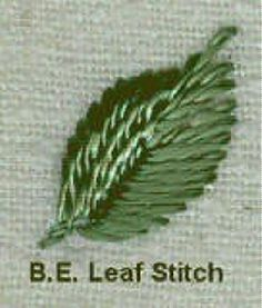 I ❤ embroidery . . . Leaf Stitch:  This variation of the satin stitch is a basic for creating leaves in Brazilian embroidery.  Anchor the knot within the leaf & come up at A, at the tip of the leaf.  Go down at B, about 1/3 in from the tip.  Work alternating from the left and right of the tip and always go back down at the vein, but move the stitches down the vein as well as down the edges.  Like any directional satin stitch, keeping the angle pleasing is something that requires practice.