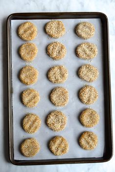 Delicious chewy cookies made with tahini and coated in sesame seeds. One of my favourite cookies! Paleo Honey, Honey Cookies, Dairy Free, Gluten Free, Tahini, Paleo Recipes, Sweet Tooth, Grains, Food And Drink