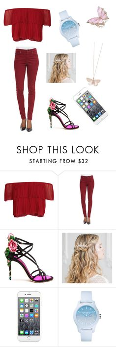 """night  out"" by papayafloren ❤ liked on Polyvore featuring Keepsake the Label, 7 For All Mankind, Dolce&Gabbana, Maison Kitsuné, Lacoste and Alex Monroe"