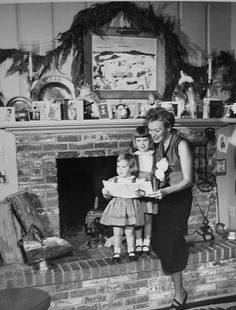Eve Arden celebrating the Holidays with her children.