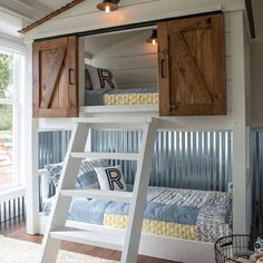 Barn wood doors are trendy and can be used for just about anything. I love this adorable kids bed using them! #realestate #arizonarealtor #realtor #homedecor #goodthings #beautifulspaces #kidsrooms