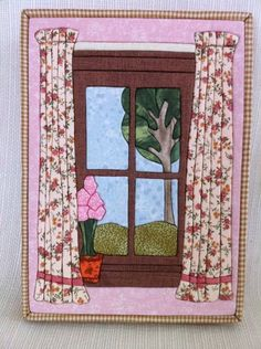 a really beautiful idea for a fabric painting! Crazy Quilting, Small Quilts, Mini Quilts, Fabric Postcards, Fabric Pictures, House Quilts, Landscape Quilts, Contemporary Quilts, Fabric Gifts