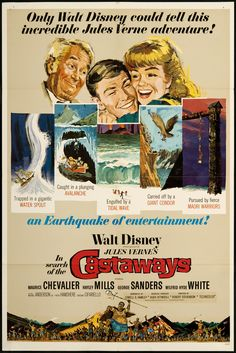 In Search of the Castaways is a 1962 Walt Disney Productions feature film starring Hayley Mills and Maurice Chevalier in a tale about a worldwide search for a shipwrecked sea captain. Description from sharetv.com.