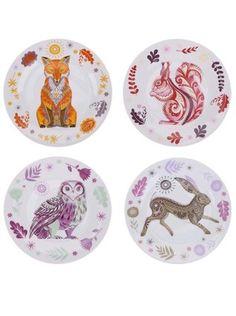 Magpie - Bílý porcelánový set čtyř talířků s barevným vzorem lesních zvířat  Sideplates - 1