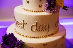 Best Day Ever detail on the second tier of this Tangled inspired wedding cake
