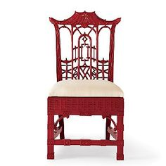 Chinese Chippendale chair in rich red lacquer.