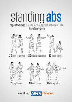 Stomach Fat Burning Ab Workouts From ! Standing Abs Workout - hmmm definitely worth a go!Standing Abs Workout - hmmm definitely worth a go! Workout Videos For Women, Workout Plan For Men, Workouts For Teens, Ab Workout At Home, Abs Workout For Women, Workout For Beginners, At Home Workouts, Belly Fat Workout For Men, Men Exercise