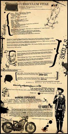 Free Resume Templates for Creative Minds Kostenlose Vintage Curriculum Vitae Design Art Resume, Visual Resume, Resume Cv, Resume Tips, Resume Writing, Graphic Design Resume, Cv Design, Graphic Art, Poster