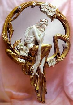 Gold and Ivory Art Nouveau Mirror. An alluring and exquisite piece of historical, period art.