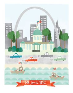 St. Louis Missouri - 11x14 print - city illustration poster wall decor children nursery art