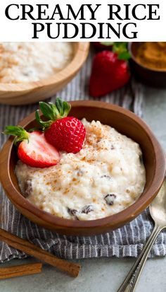 Homestyle Rice Pudding - A delicious, old fashioned recipe just like Grandma made! It only requires 5 basic ingredients, plus cinnamon and raisins if you like them. So easy with slow cooker directions too! Desserts To Make, Great Desserts, Delicious Desserts, Food To Make, Vegan Desserts, Rice Pudding Ingredients, Creamy Rice Pudding, Slow Cooker Rice Pudding, Appetizer Recipes