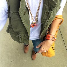 Military Vest, Jeans, Boots & Statement Necklace