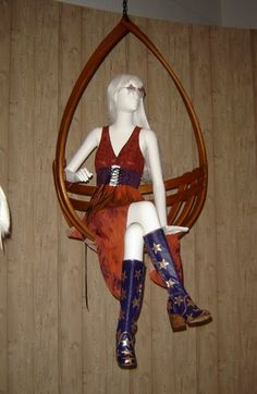 Star-embellished boots (made by Gohill, retailed by Granny Takes a Trip, 1969) accompany a Holly Harp tie-dyed dress with an embroidered suede belt. The mannequin is seeing stars in 1970s sunglasses.https://www.etsy.com/au/shop/Joyatri