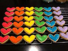 Rainbow Heart Cookies Care Bear Birthday, Care Bear Party, Baby Birthday, Rainbow Food, Rainbow Heart, Rainbow Baby, Baby Cookies, Heart Cookies, Birthday Cookies