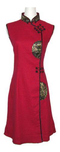 Robe chinoise rouge traditionnelle en coton sans manches sur La Cité Interdite