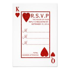 Red Glitter Effect Playing Card: Las Vegas Wedding