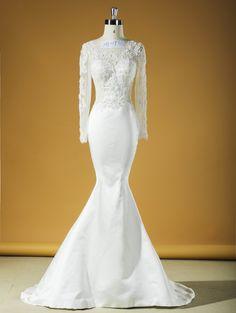 HJ017 Muslim Mermaid Wedding Dress Bridal Gown In Long Lace Sleeves