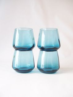 glassware vintage glasses roly poly blue glass octagon shaped barware