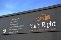 Build Right showroom signage graphic design by Robertson Creative, Christchurch, New Zealand