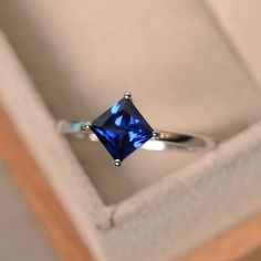 Lab sapphire ring princess cut sapphiresilver by LuoJewelry Engagement Ring Sizes, Beautiful Engagement Rings, Vintage Engagement Rings, Beautiful Rings, Diamond Engagement Rings, Pretty Rings, Solitaire Engagement, Solitaire Ring, Princess Cut Rings