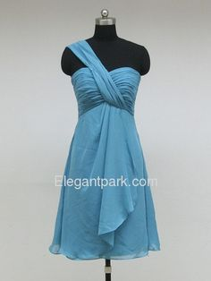 Blue A-Line One Shoulder Knee-length Chiffon Bridesmaid Dress (Sar)