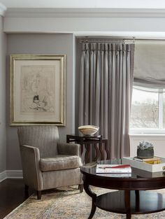 Custom Window Treatments With A Satin Pinched Pleated Drapery On Ceiling Mounted Lucite Pole