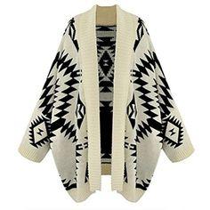 So'each Women Batwing Long Sleeve Geometric Cardigan Sweater