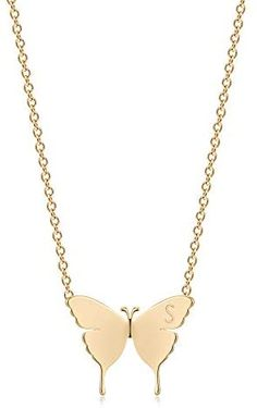 OSIANA Gold Dainty Butterfly Initial Necklace for Women 18K Plated Gold Tiny Cute Letter Pendant Name Alphabet Choker Necklace Minimalist Personality Gift Friendship Jewelry for Her
