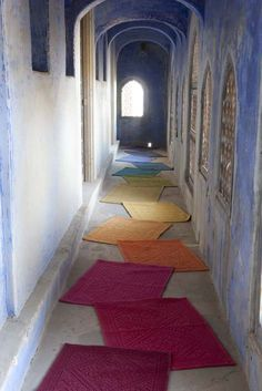 clever colorful runner rug made with attached smaller rugs in a rainbow of colors. Would be great for an eclectic entryway Entry Hall, Small Rugs, Rug Making, Home Textile, Rug Runner, Entryway Decor, Most Beautiful Pictures, Tile Floor, Clever
