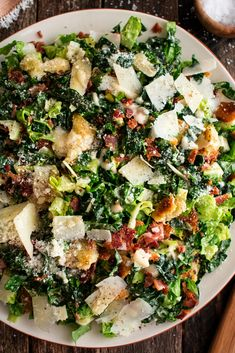 Garlic Kale, Roasted Garlic, Roasted Cauliflower, Kale Caesar Salad, Roasted Kale Salad, Healthy Caesar Salad, Bacon Salad, Clean Eating, Healthy Eating