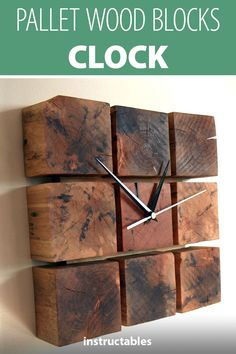 Upcycle pallet wood blocks into a rustic clock. Upcycle pallet wood blocks into a rustic clock. The post Upcycle pallet wood blocks into a rustic clock. appeared first on Home. Woodworking Shop Layout, Easy Woodworking Projects, Diy Pallet Projects, Woodworking Jigs, Woodworking Furniture, Woodworking Workshop, Woodworking Classes, Popular Woodworking, Wood For Furniture