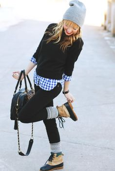 cozy winter style... I am liking these boots for snowy winter days!