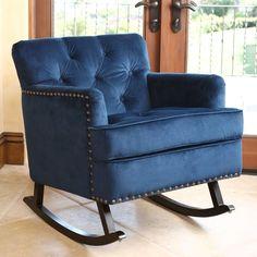 Pair of Navy Blue Velvet Tufted Back Lounge Chairs | Modern lounge ...