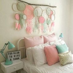 Dreamcatcher decor colours more dream catcher bedding, My New Room, My Room, Los Dreamcatchers, Home And Deco, Little Girl Rooms, Diy Home Decor, Kids Room, Bedroom Decor, Bedroom Colors