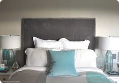 Great Website for knock off DIY projects--Tall Upholstered Headboard with Nailhead Trim