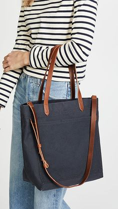 Madewell The Canvas Medium Transport Tote | SHOPBOP Business Professional Outfits, Professional Dresses, Business Outfits, Madewell Transport Tote, Madewell Tote, College Tote, Tote Bags For School, Denim Bag, Black Tote