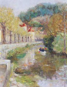 Armitage Karen - Canal at Noyers, Burgundy, 2002 (oil on canvas)