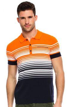 Striped Logo Polo - Polos - Mens - Armani Exchange