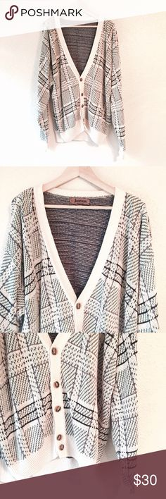 """Vintage grandpa sweater cardigan cream plaid knit Such an amazing cardigan sweater! """"Grandpa"""" style that's slouchy and loose fitting. Tortoise buttons up the front. Cream with green and lilac purple details. It's kind of a plaid & herringbone pattern at the same time. Lilac purple on the inside for a nice contrast. Jantzen brand, size large. Excellent vintage condition. Vintage Sweaters Cardigan"""