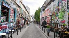 Belleville: Close to Le Pere Lachaise Cemetery. If your tastes run to graffiti and street arts you must definitely check out Rue Denoyez. Afterwards, you can try the view over the city from Rue Piat and Rue des Envierges, which leads to the modern but lovely Parc de Belleville.