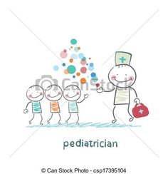Vector - pediatrician shows children miracle - stock illustration, royalty free illustrations, stock clip art icon, stock clipart icons, logo, line art, EPS picture, pictures, graphic, graphics, drawing, drawings, vector image, artwork, EPS vector art